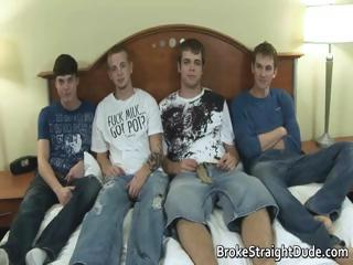Four super hot straight guys cock part