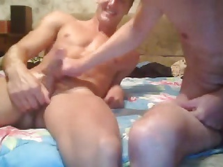 Athletic Russian Guy Jerks His Friend Big Cock 1stTime