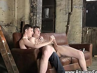 Hot gay scene Kicking back on the couch, Zacary is unable to turn down as