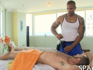 Wet blowjob for a black homo masseur