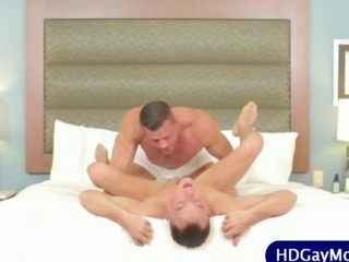 Gay lover tenderly rims boyfriends hole