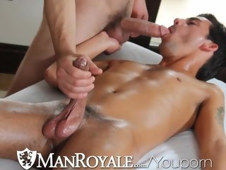 Manroyale Hairy masseur sucks and fucks twink