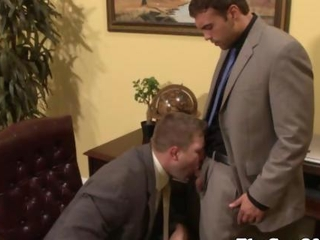 Gay office jock getting his throat ravaged