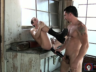 Jimmy and Tyler show Tyson's ass no mercy with a big dildo