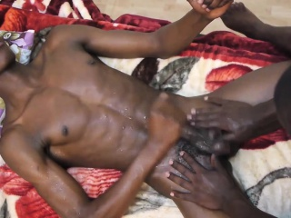 Skinny african jerking and tugging