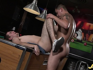 JJ Lays Back On The Pool Table and Junior Puts His Cock
