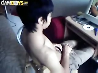 Asian twink web wank