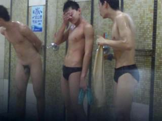 Chinese boys shower