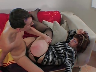 Get an orgasm while lying on his back like a girl