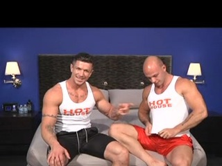Two gay bodybuilders with great bodies show off their muscles as they suck each other's cock and enjoy a prolonged fingering & anal.