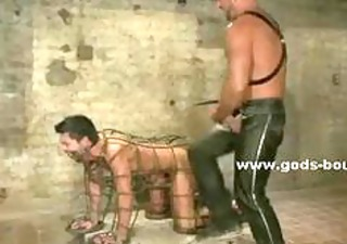 gay model bound in ropes using his throat and wazoo to please brutal
