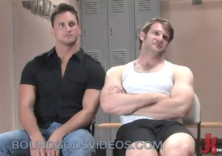 muscle gays bondage fuck in gym