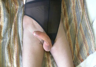 masturbation and spunk flow on pantyhose