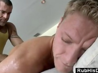 tattoo guy gets massage at home from homo bear
