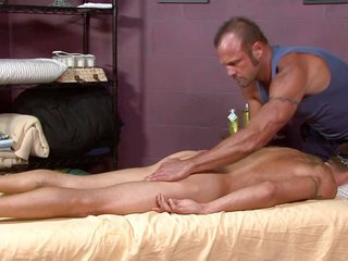 shaved heterosexual physically strong ex military guy is best hot as he gets a massage from a hairy gay stud-
