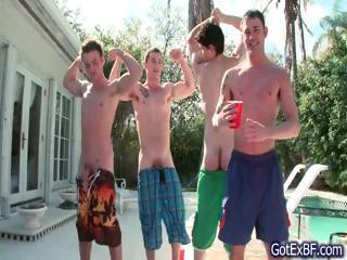 Amazing gay foursome by the swimming...