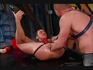 Ass stretched with big dildo and hands