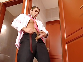 Same Hairy Office Stud with Chest Shaved