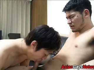 Tugged asian stud cums