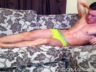 hung college guy cums onto chest