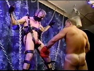 CBT blonde muscle stud is suspended...