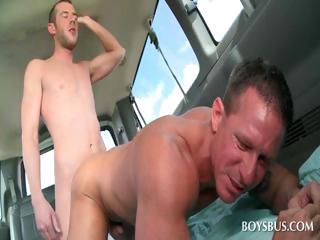 Gay stunner gets butt nailed in the...