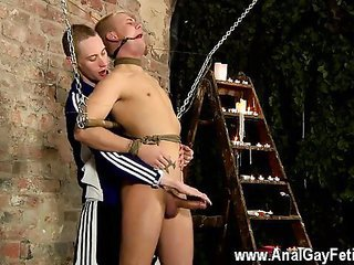 Hot gay Restrained to boot unable to refuse Deacon is made to g
