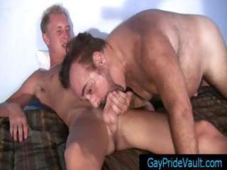 blonde twink getting his dick sucked by old gay bear part0