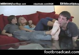 wench forces boy to workship her bfs feet