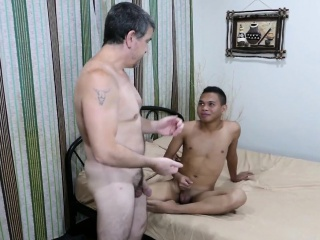 Young asian twink bareback fucking old guy