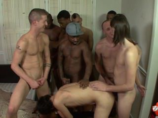 Eager twink gets his ass drilled and face creamed after gang bang