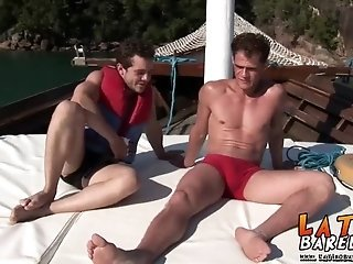 Two hot studs admire each others bodies and bareback fuck