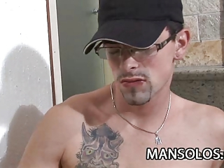 Tattooed bad boy Pablo Montejo strokes his large cock