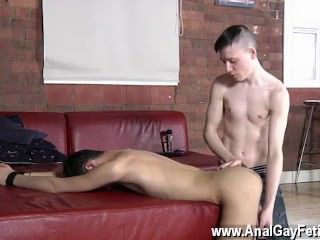 Amazing gay scene Oli is about to be used as a smash toy as Matt strokes