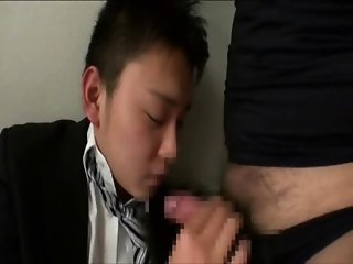 Asian school boy fingered and jacked off