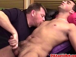 Mature bear loves young jizz in his mouth