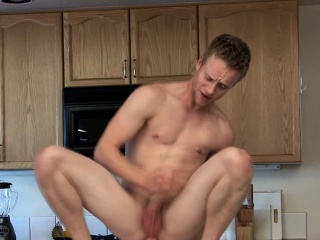 Big dick stud fucks dildo while rubbing