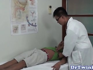 Ethnic doctor facefucks twinks before enema