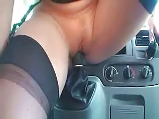 Amateur Car Insertion Masturbating Pussy Shaved Stockings
