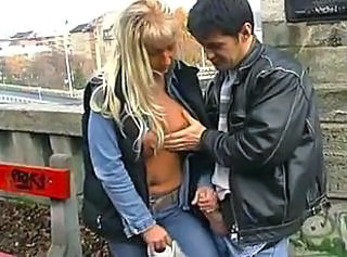 Amateur Clothed Girlfriend Handjob Outdoor Public