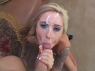 Blonde Cumshot Facial Pov Tattoo