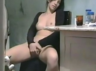 Amateur Girlfriend Homemade Kitchen Masturbating