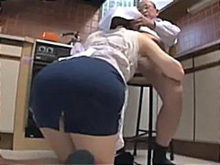 Asian Ass Blowjob Clothed Daddy Japanese Kitchen Maid