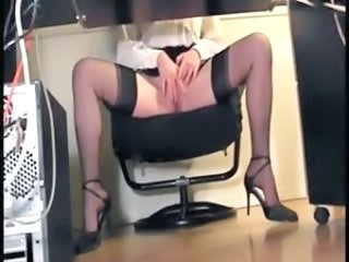 Masturbating Office Secretary Stockings Voyeur