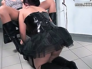 Clothed Corset Latex Lesbian Licking Skirt
