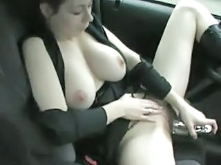 Big Tits Car Masturbating Natural Toy
