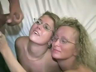 Amateur Blonde Cumshot Facial Glasses  Swallow