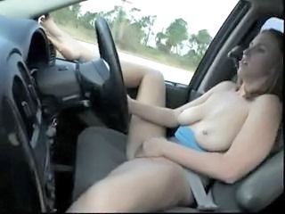 Babe Big Tits Car Masturbating Natural Nipples Outdoor Piercing Public