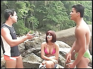Brazilian Latina  Outdoor Threesome