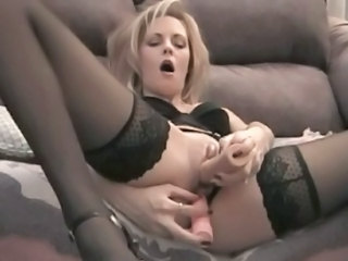 Amateur Dildo Masturbating  Stockings Toy